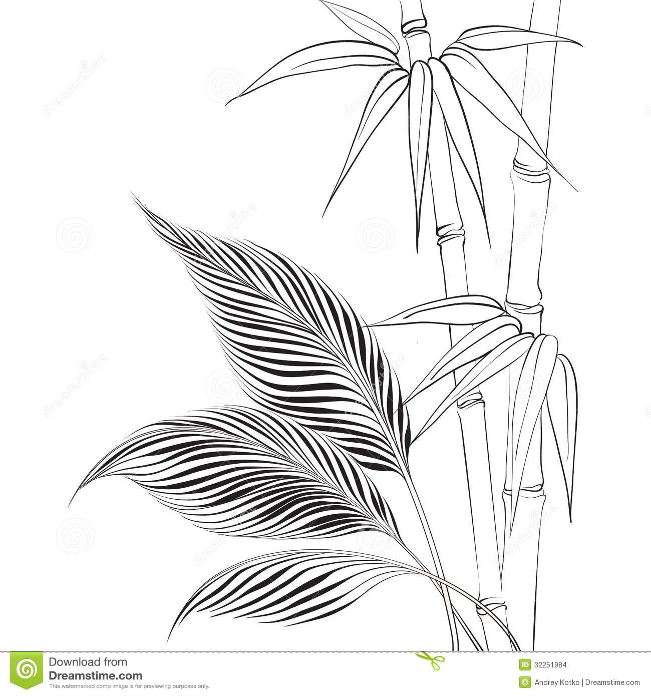bamboo coloring pages - palm tree over bamboo forest stock vector image 32251984