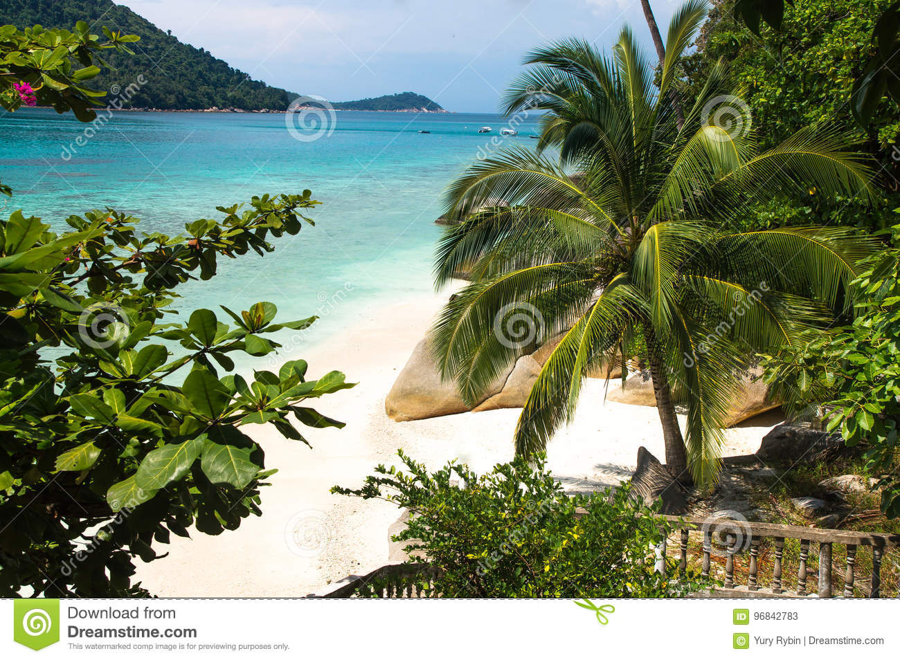 Palm tree and rocks on white sand beach at Pulau Perhentian, Mal