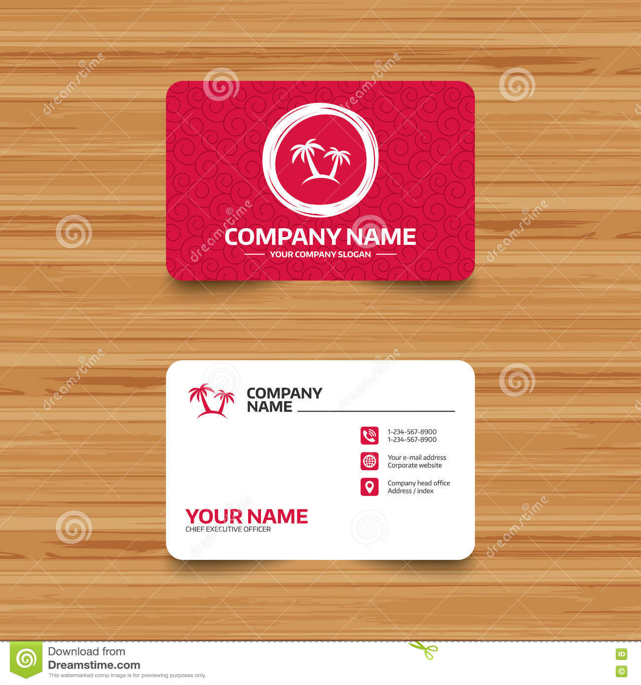 Palm tree sign icon travel trip symbol stock vector illustration business card template with texture palm tree sign icon travel trip symbol phone web and location icons visiting card vector colourmoves