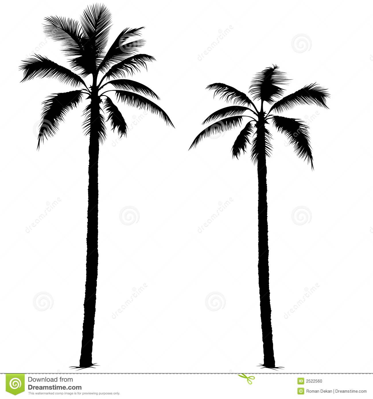 Palm tree silhouette 1 - Highly detailed black silhouette.