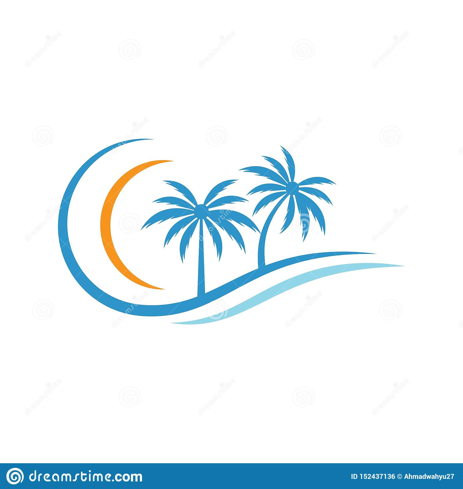 Palm tree summer logo