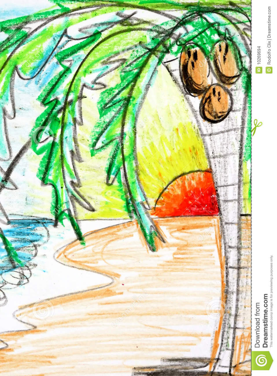 Palm Tree And Sunset Drawing Stock Illustration Illustration Of
