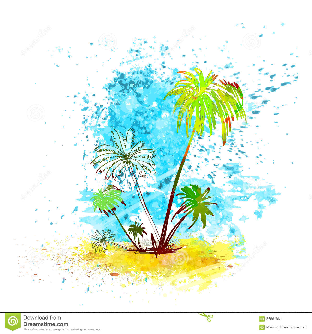 Palm Tree Tropical Island Water Splash Paint Stock Vector
