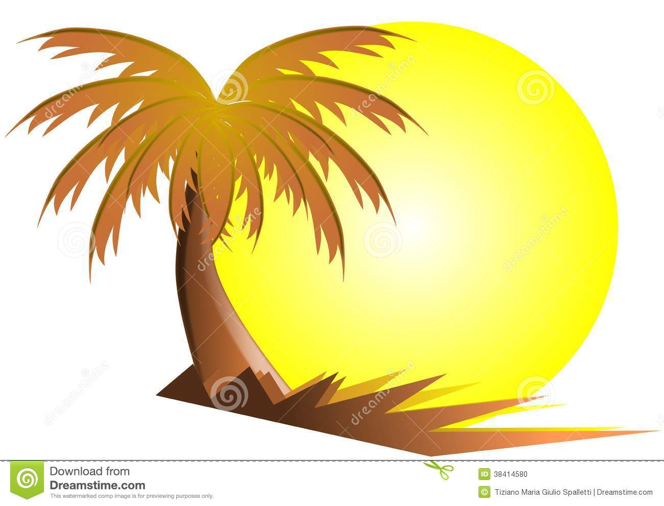 Palm Tree With Sun Isolated Stock Photo - Image: 38414580