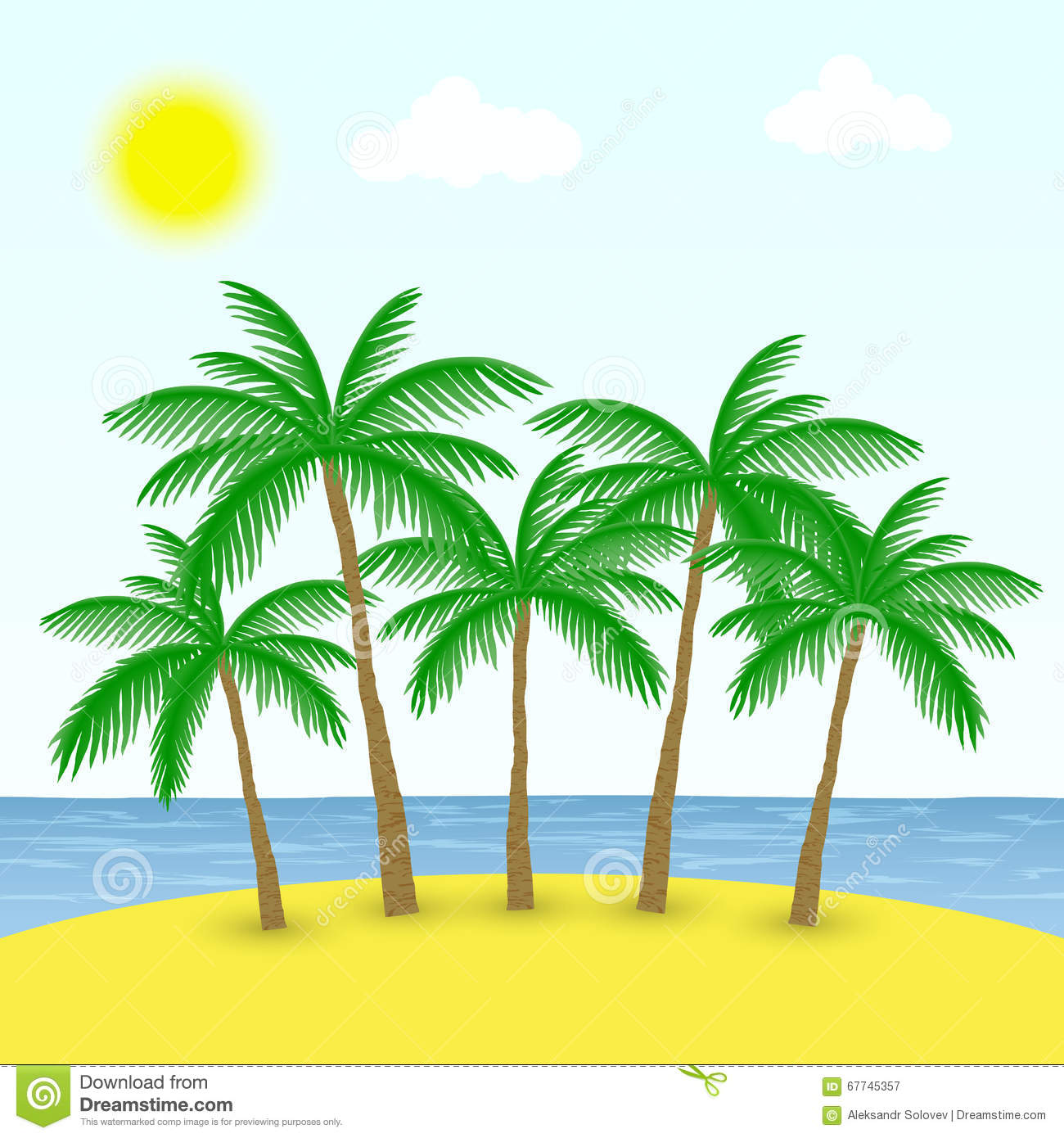 Palm Tree Beach: Palm Trees On The Beach Stock Vector. Illustration Of