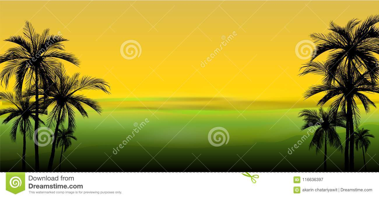 Vector Of Palm Trees On Colorful Background, Stock Vector ...