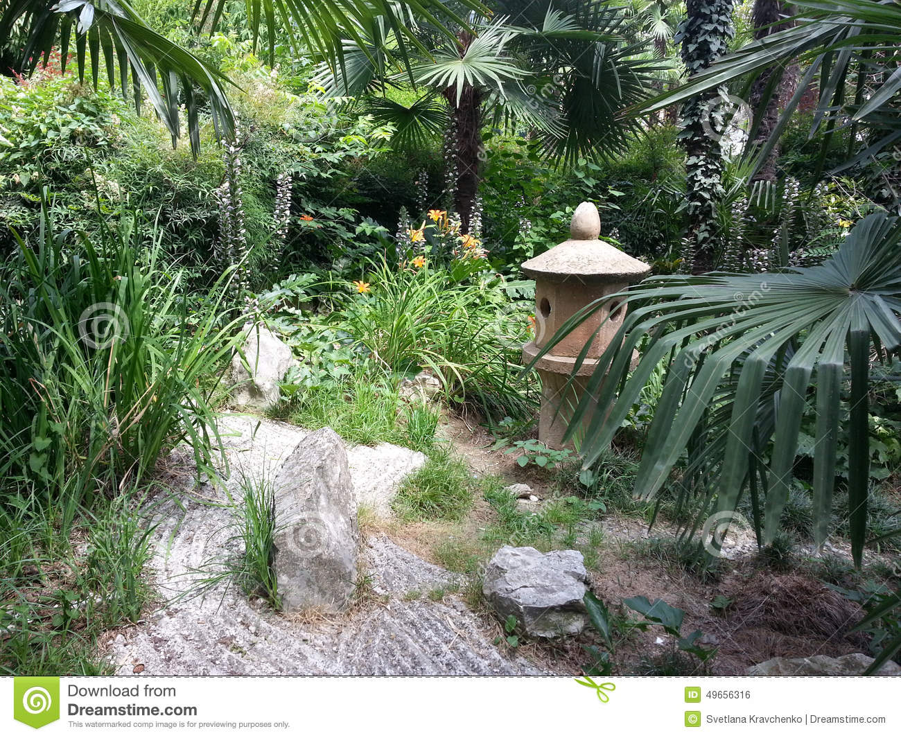 Walk In The Japanese Garden, Flowers And Palm Trees, Sculptures And Stone  Paths