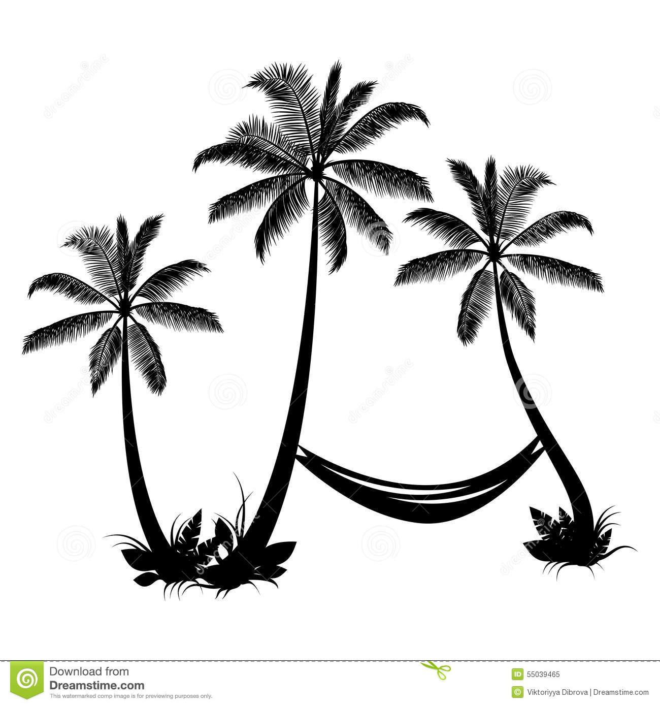 Palm Trees With Hammock Stock Vector Image 55039465