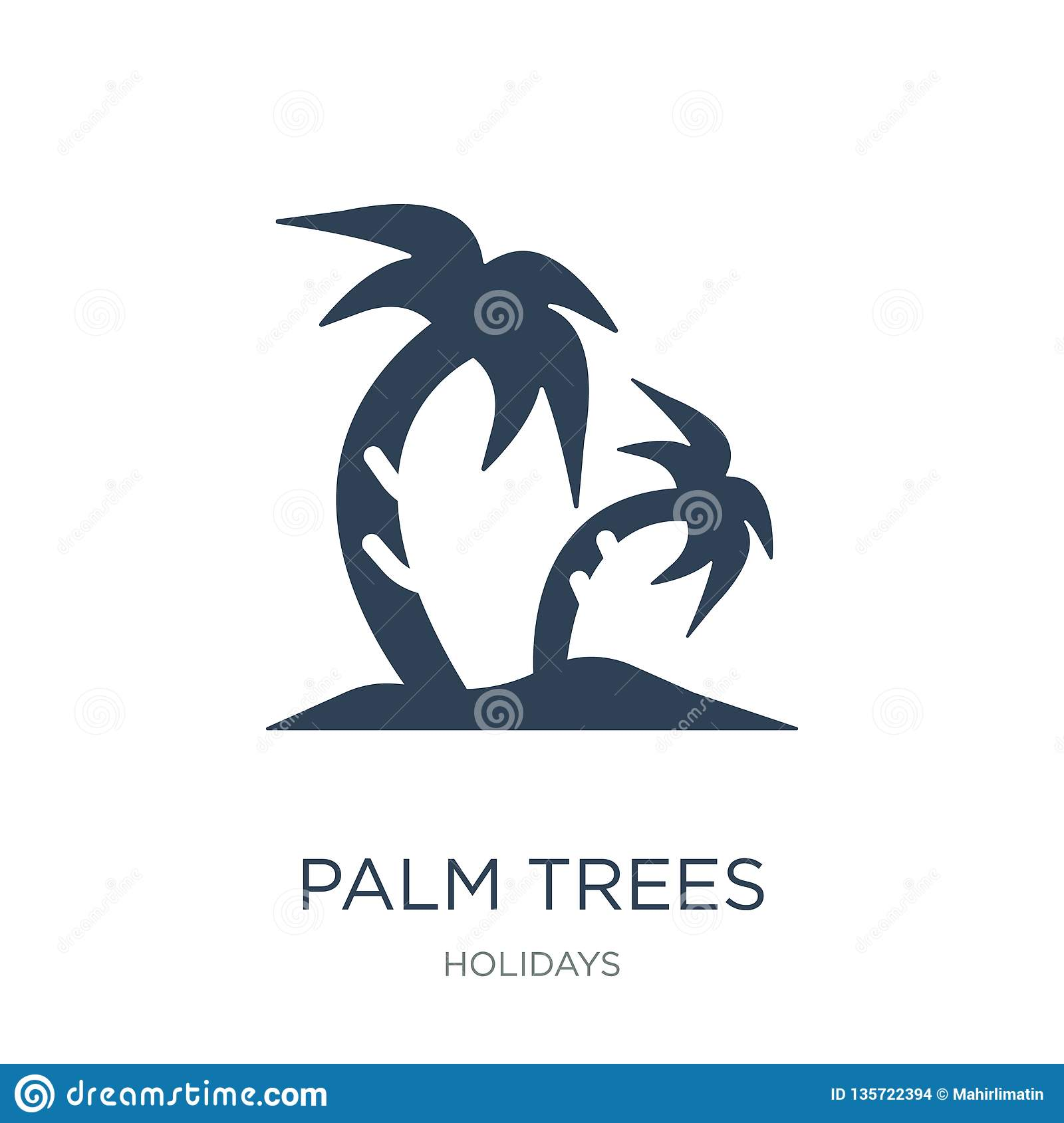 palm trees icon in trendy design style. palm trees icon isolated on white background. palm trees vector icon simple and modern