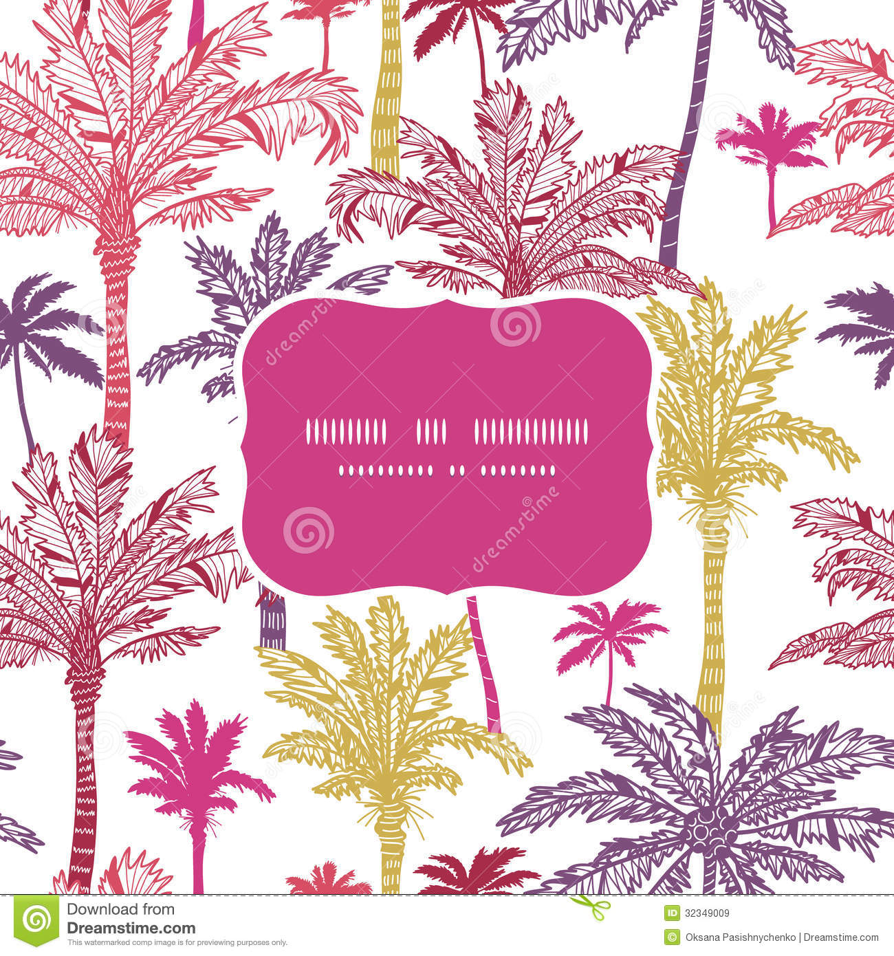 Palm Trees Seamless Frame Pattern Background Royalty Free Stock Images ... Peacock Pattern Outline