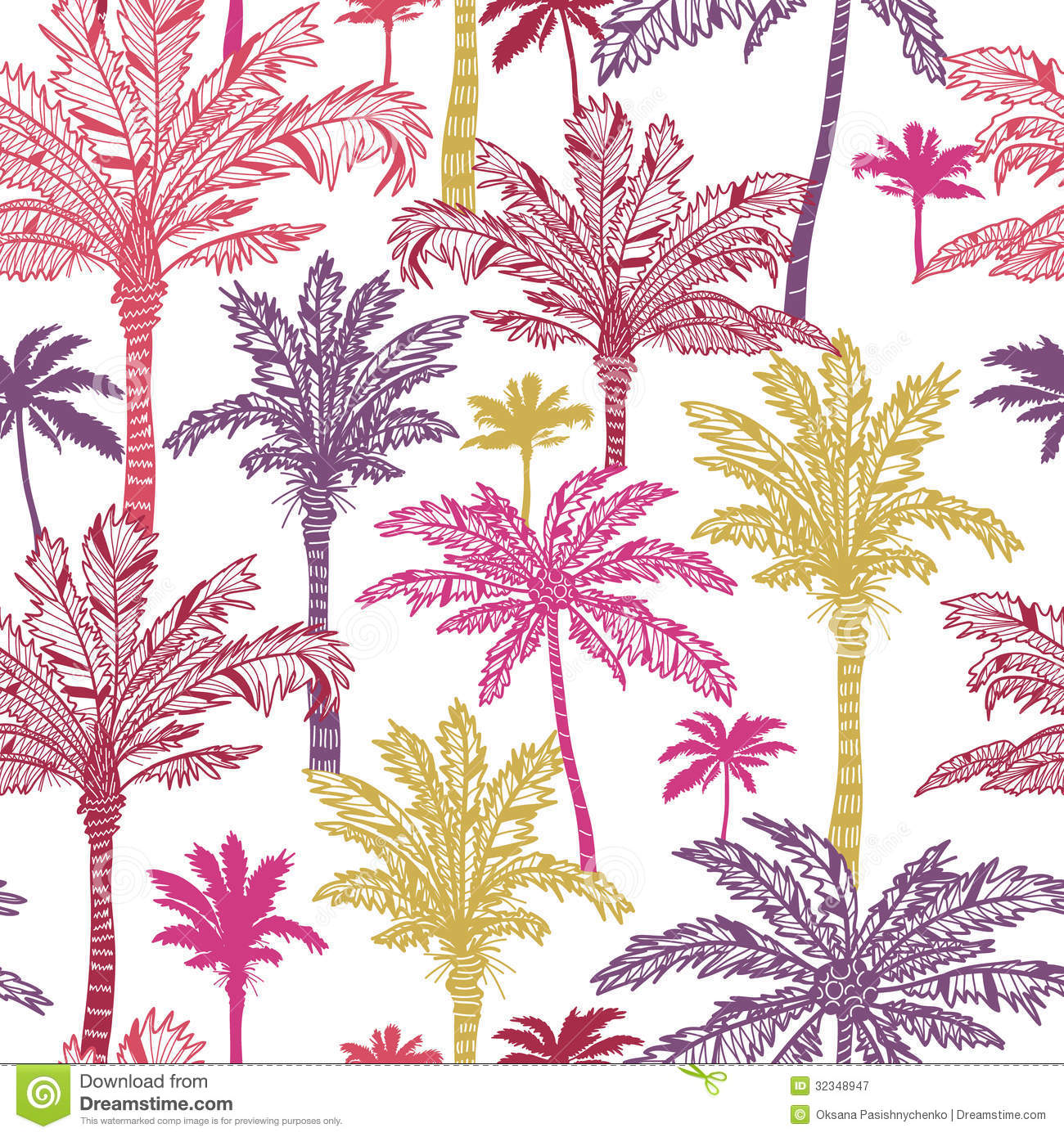 palm trees seamless pattern background stock vector illustration
