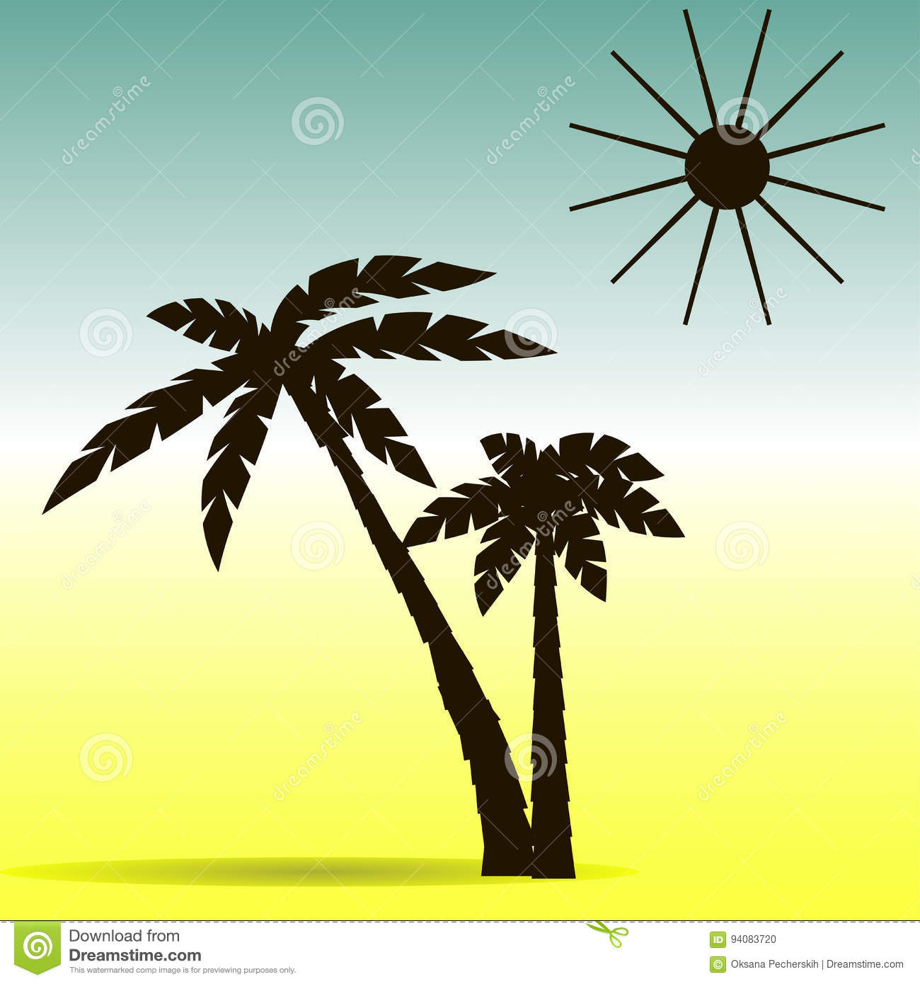 palm trees and sun silhouette vector illustration stock vector