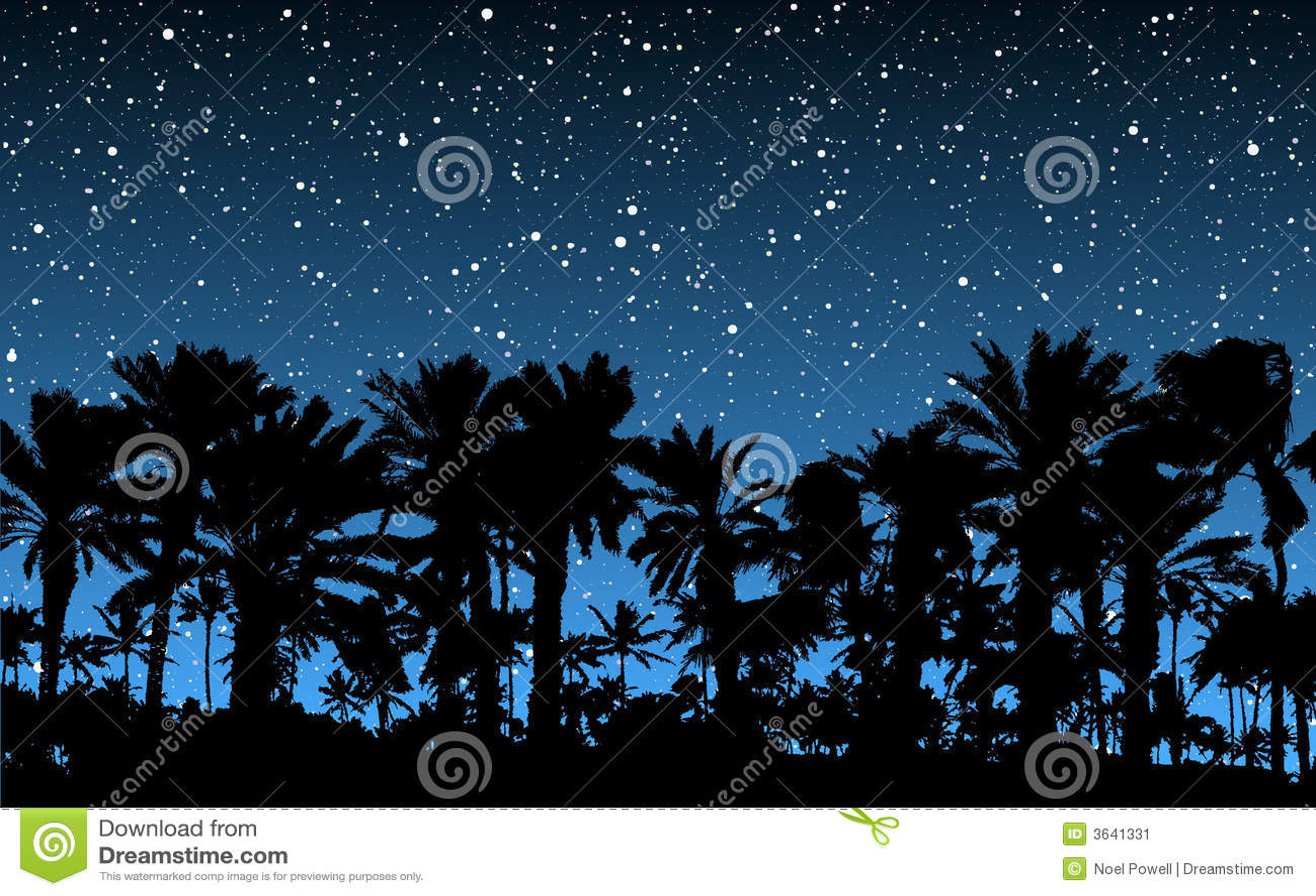 Palm Trees Under Stars