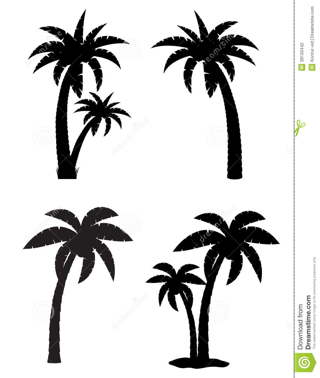Palm Tropical Tree Set Icons Black Silhouette Stock Vector