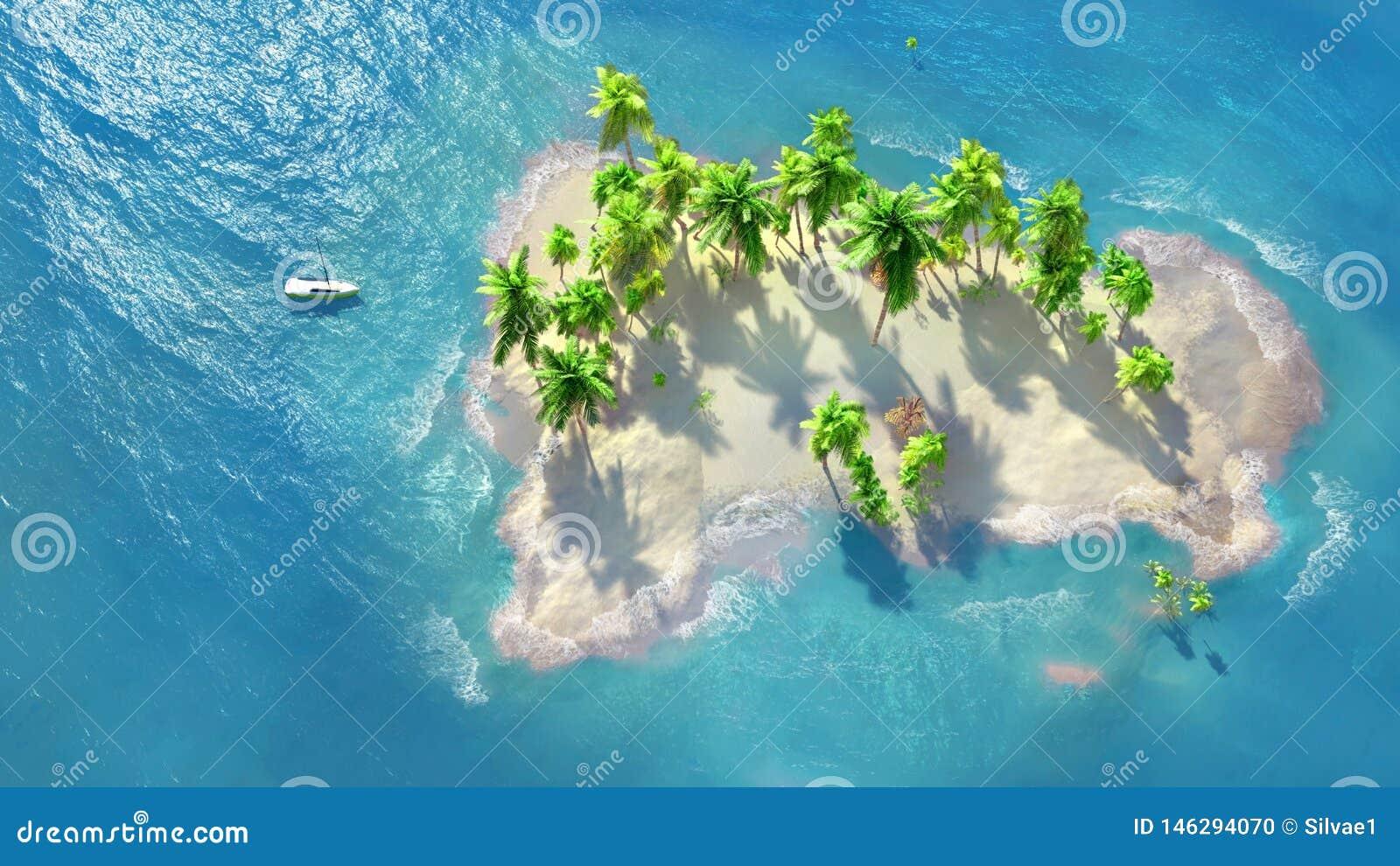 Palma de coco en la playa Mar tropical