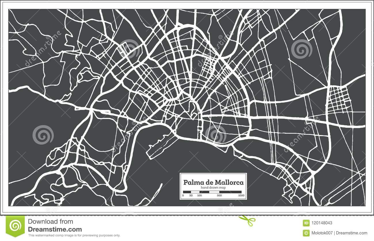 Palma De Mallorca Spain City Map In Retro Style Outline Map Stock
