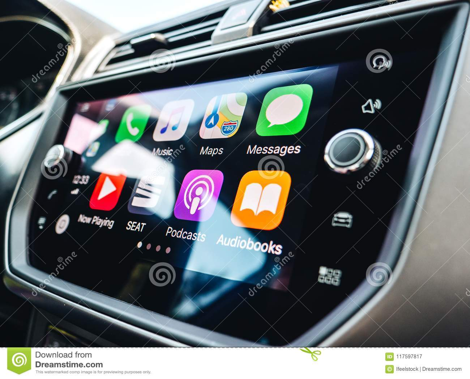 MOdern Car With Apple CarPlay Display Screen Editorial