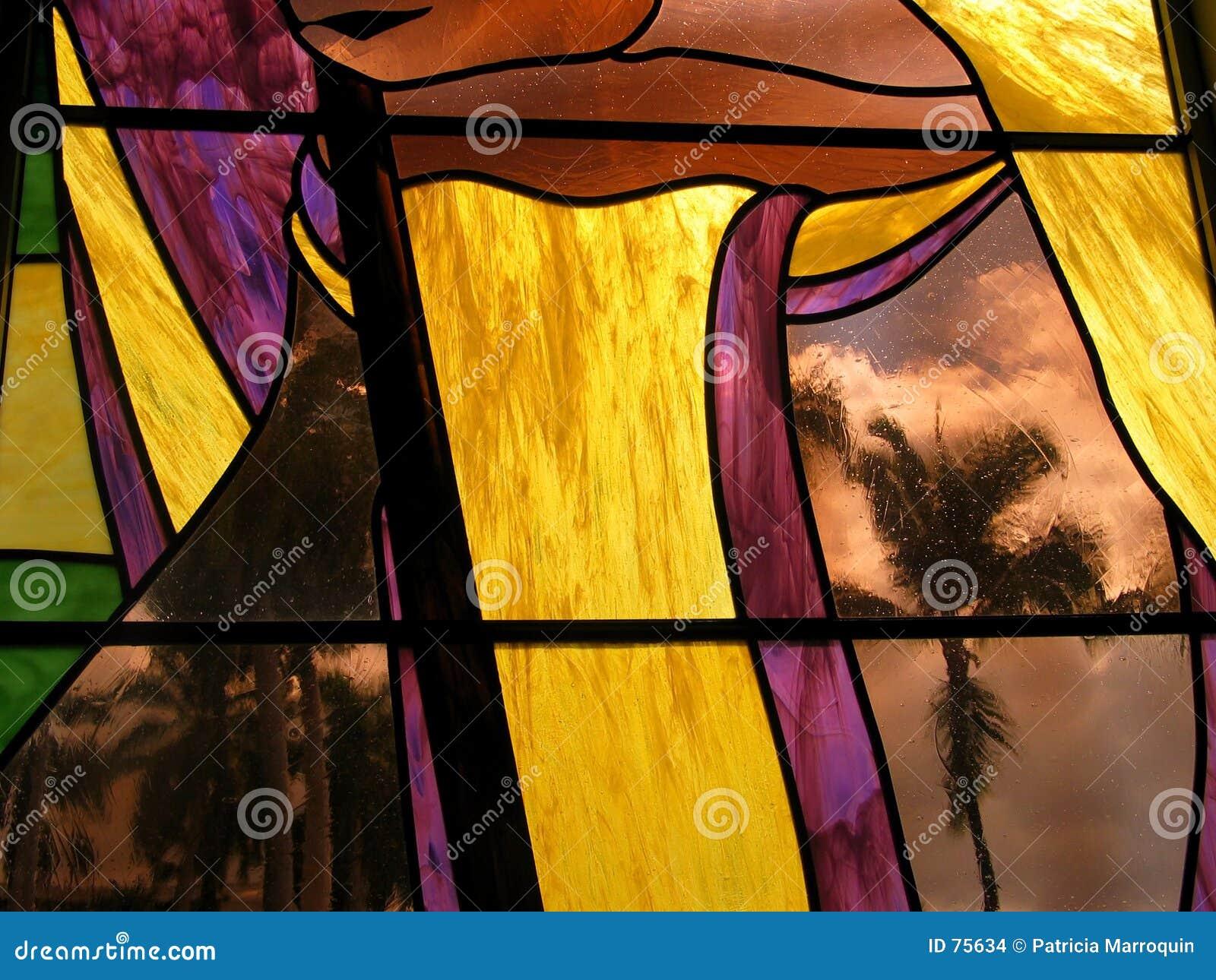 Palma del vidrio manchado