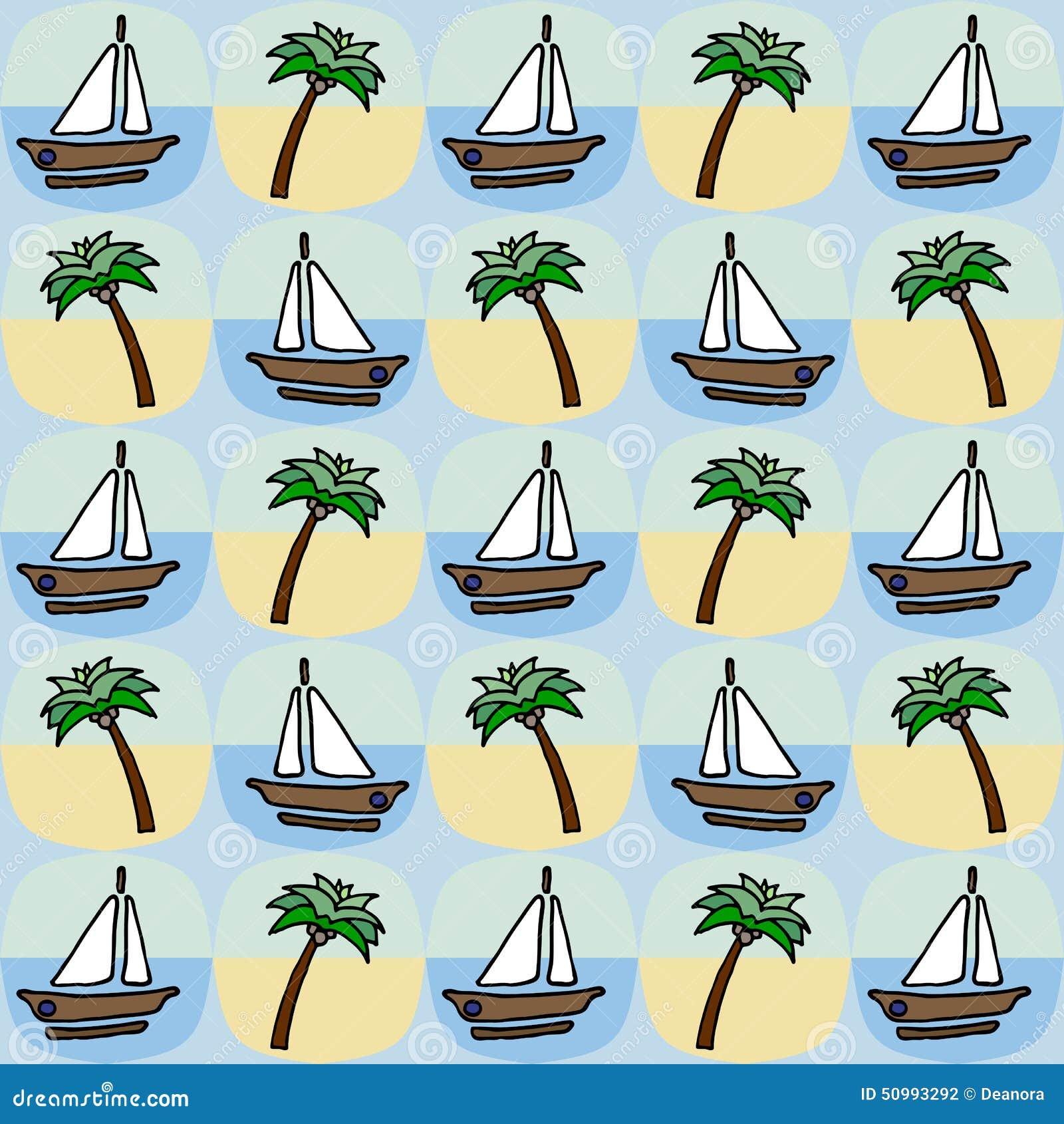 Palma i łódkowaty bezszwowy wzór