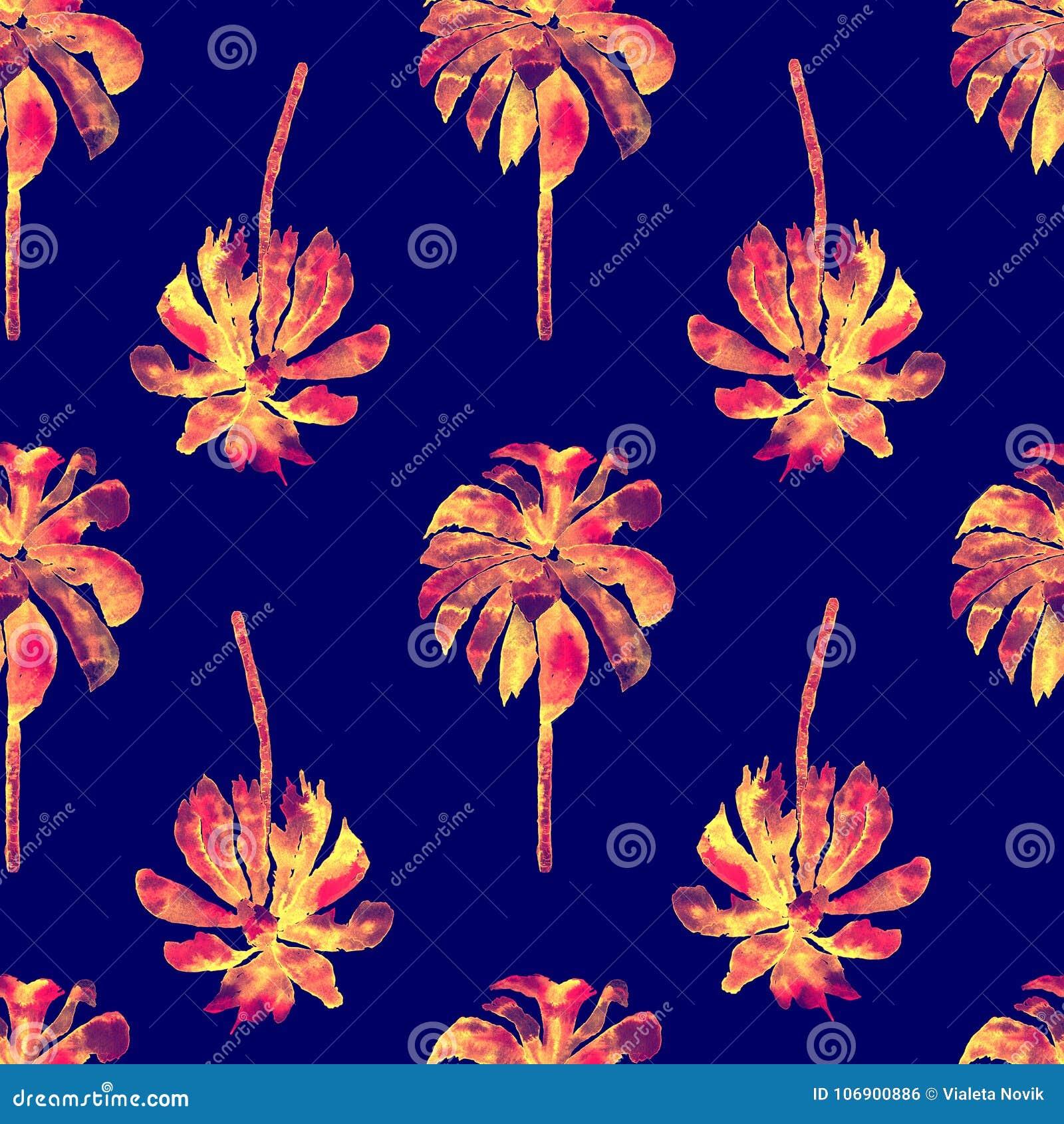 Palma wzór Egzotycznej akwareli Bezszwowy wzór
