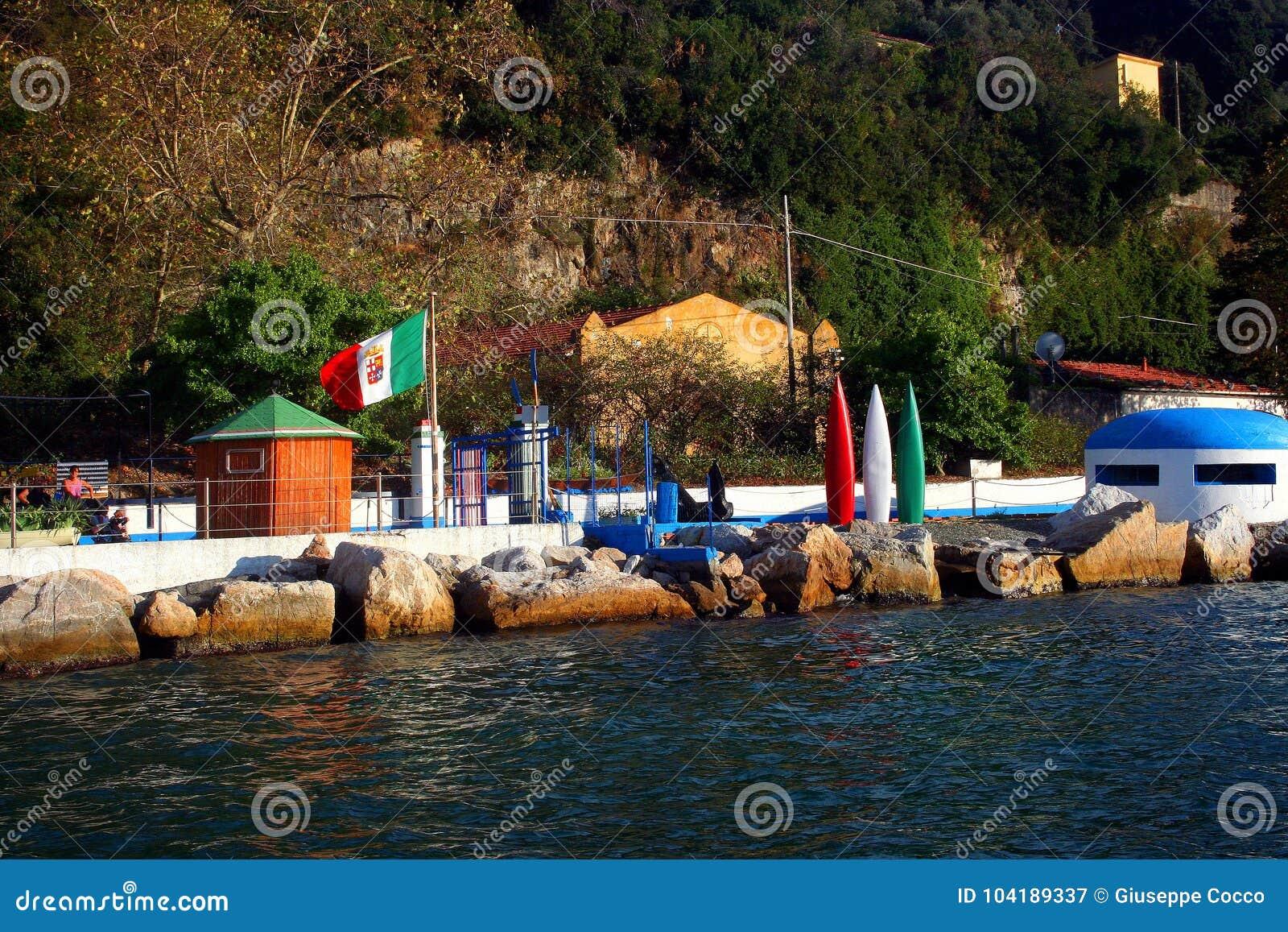 Palmaria wyspa: kąpania założenie z włoszczyzny flaga koją kołysa i bunkier