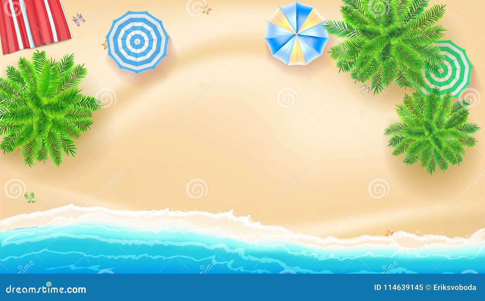 Disegni Di Spiaggia E Ombrelloni.Palme Ombrelloni Della Stuoia Della Spiaggia Sulla Spiaggia