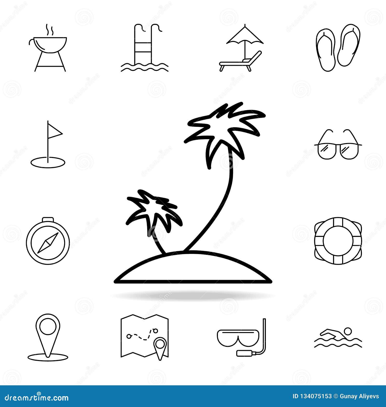 Palme sull icona dell isola Elemento dell icona semplice per i siti Web, web design, cellulare app, grafici di informazioni Linea