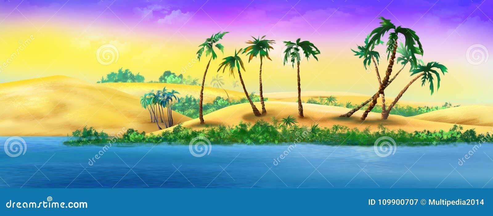 Palmen op Sandy River Bank