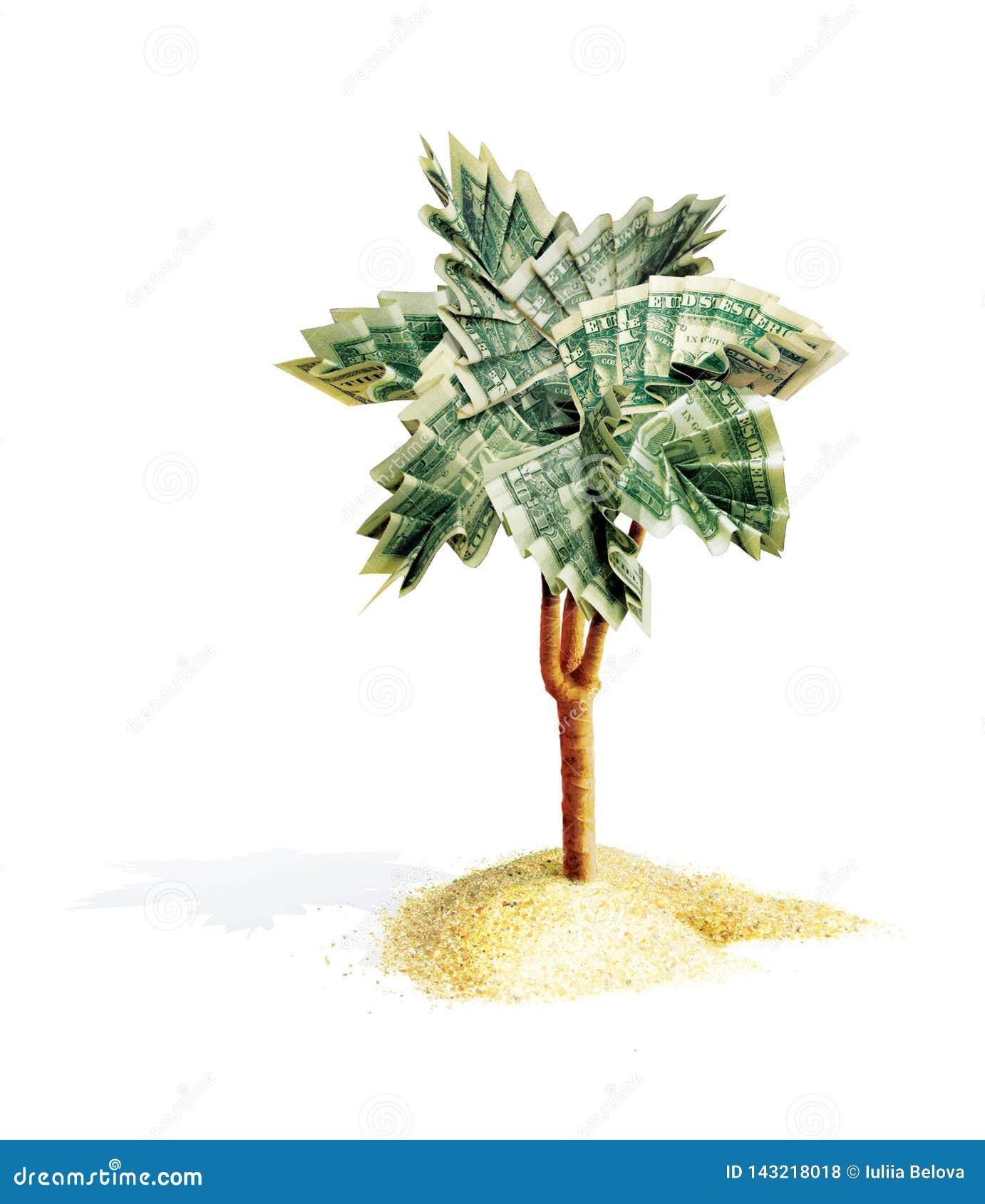 Palmenorigami mit den Blättern, gefaltet von den Dollarscheinen Der Geldbaum wächst von einem Sandhaufen Abbildung 3D Lokalisiert