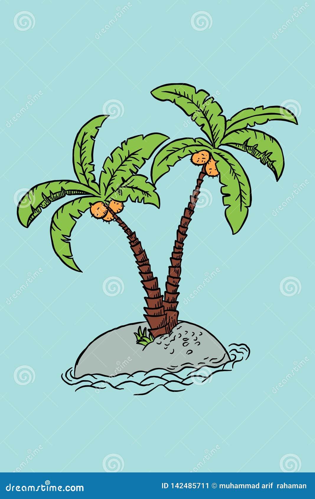 Palmera Del Ejemplo De La Mano Del Bosquejo En La Isla O La Playa