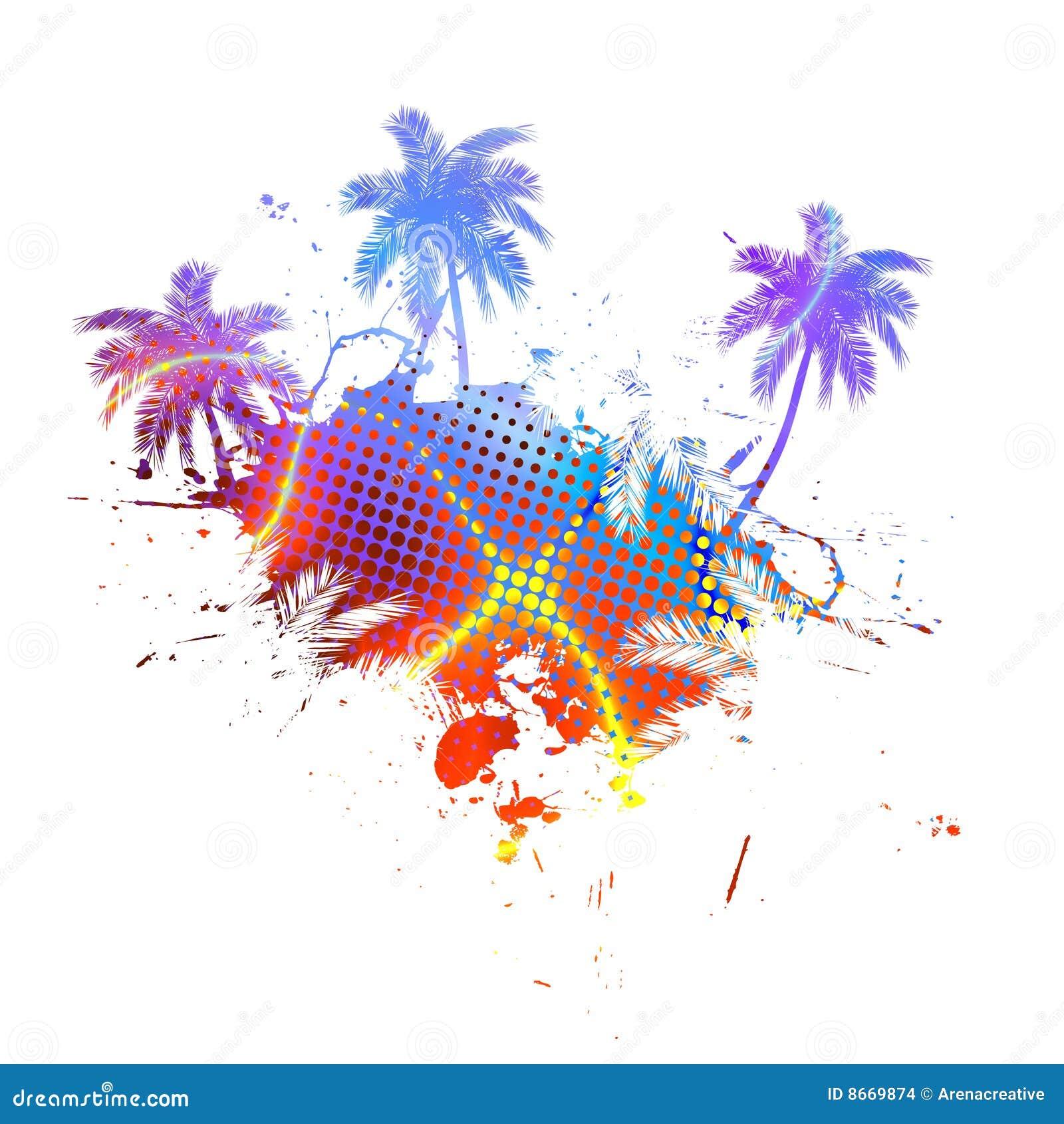 Palmiers grunges colorés