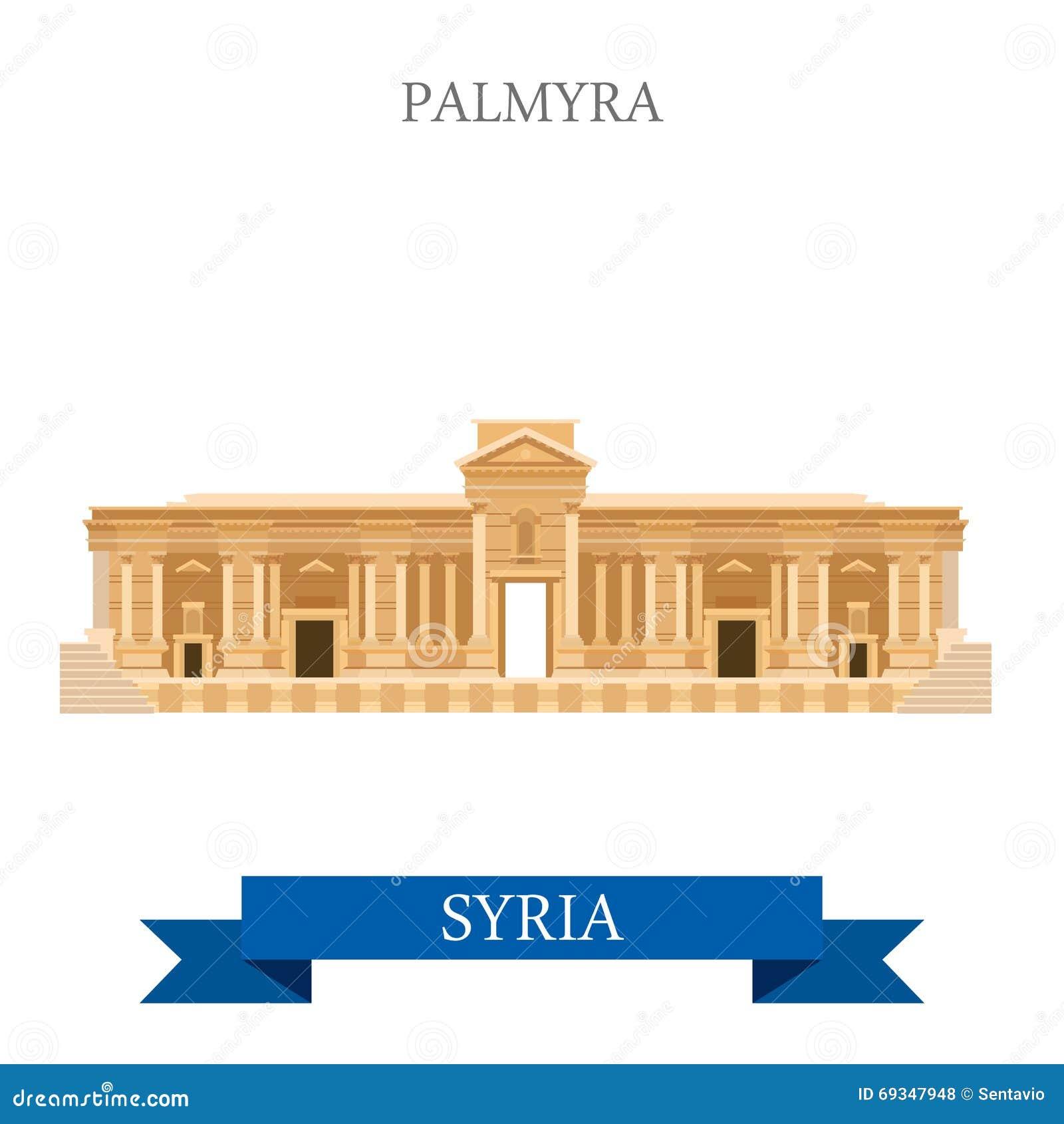 Palmyra en points de repère plats de l Asie de voyage d attraction de vecteur de la Syrie