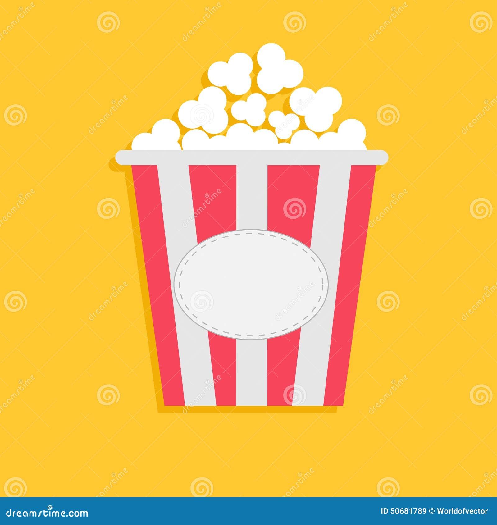 Palomitas grandes con la etiqueta vacía de la etiqueta Icono del cine en estilo plano del dsign