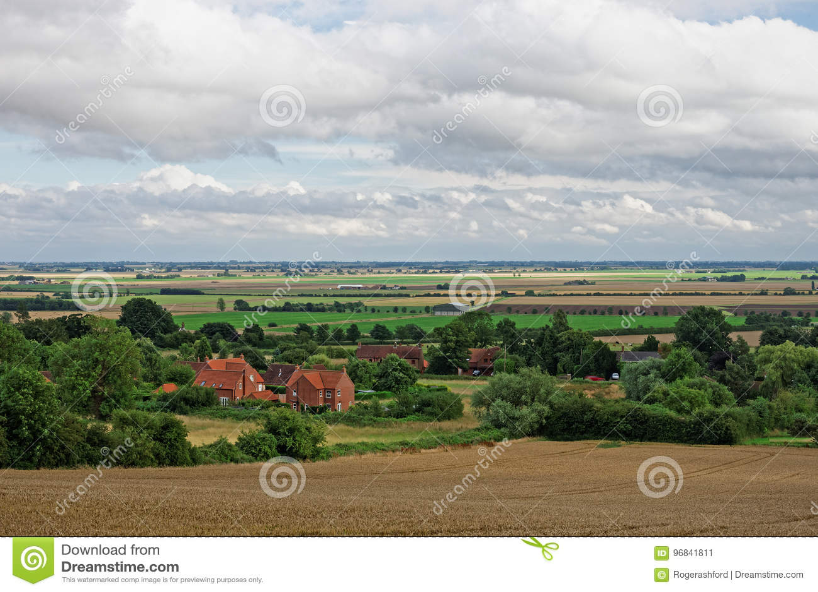 Paludi di Lincolnshire vedute da una collina nei Wolds