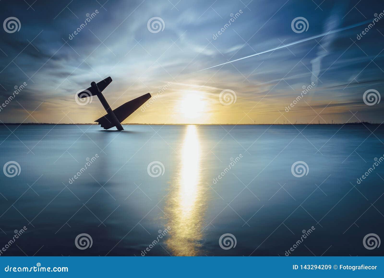 Pamiątkowy zabytek rozbijał Sprzymierzoną lotnik drugą wojnę światową W harderwijk i zabił holandie