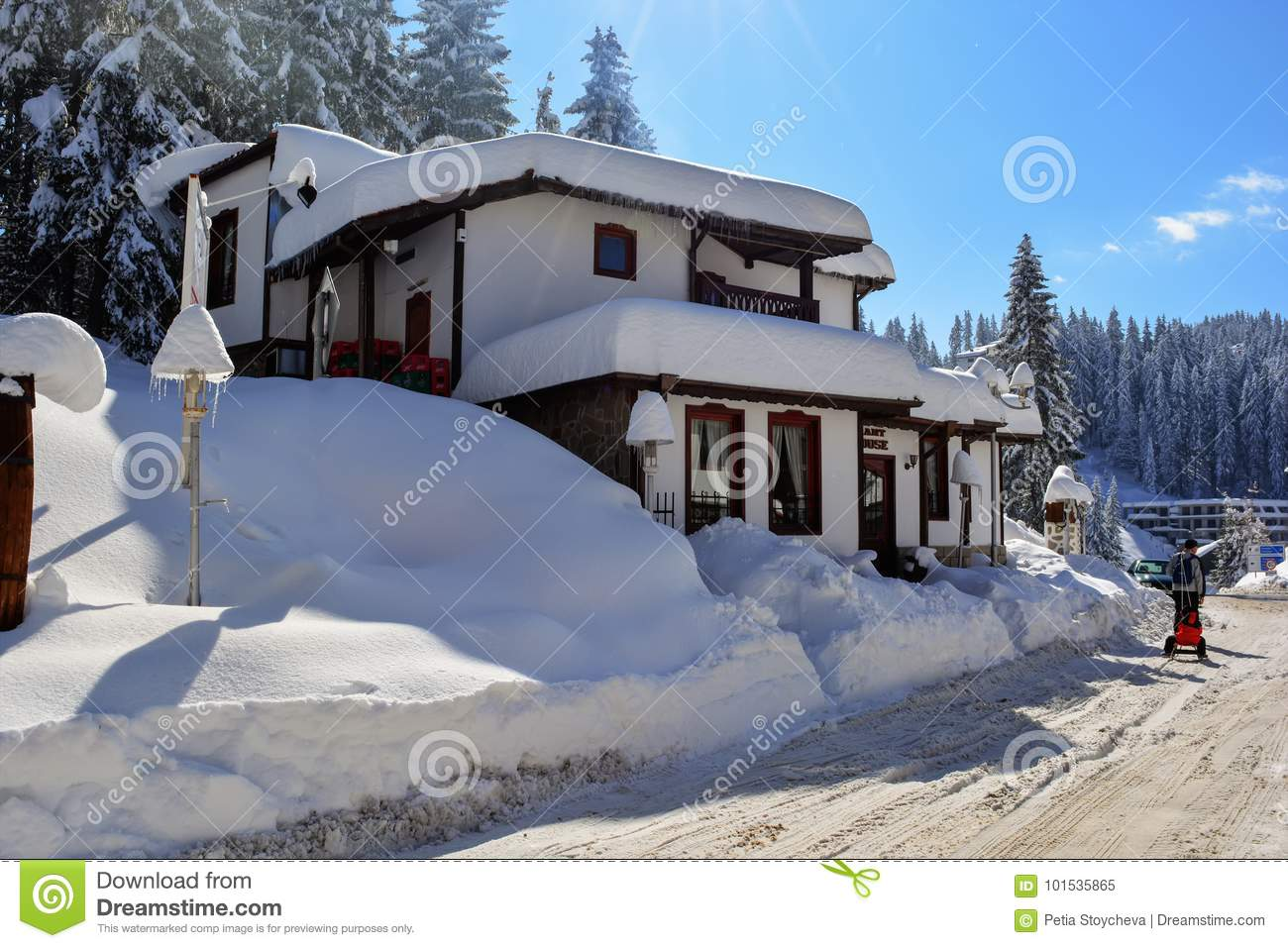pamporovo, bulgaria - march 11, 2015 : winter resort with ski lift