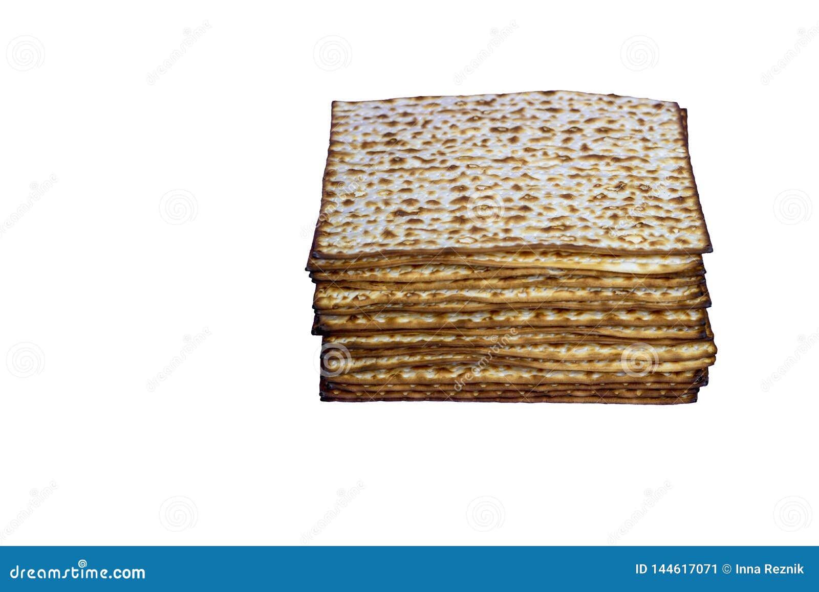 Pan ?cimo de la pascua jud?a tradicional jud?a del Matzah S?mbolo de la celebraci?n de Pesach Imagen aislada