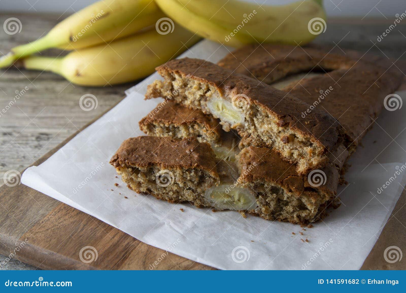 Pan De Plátano Con La Harina De La Avena Vista Superior Del