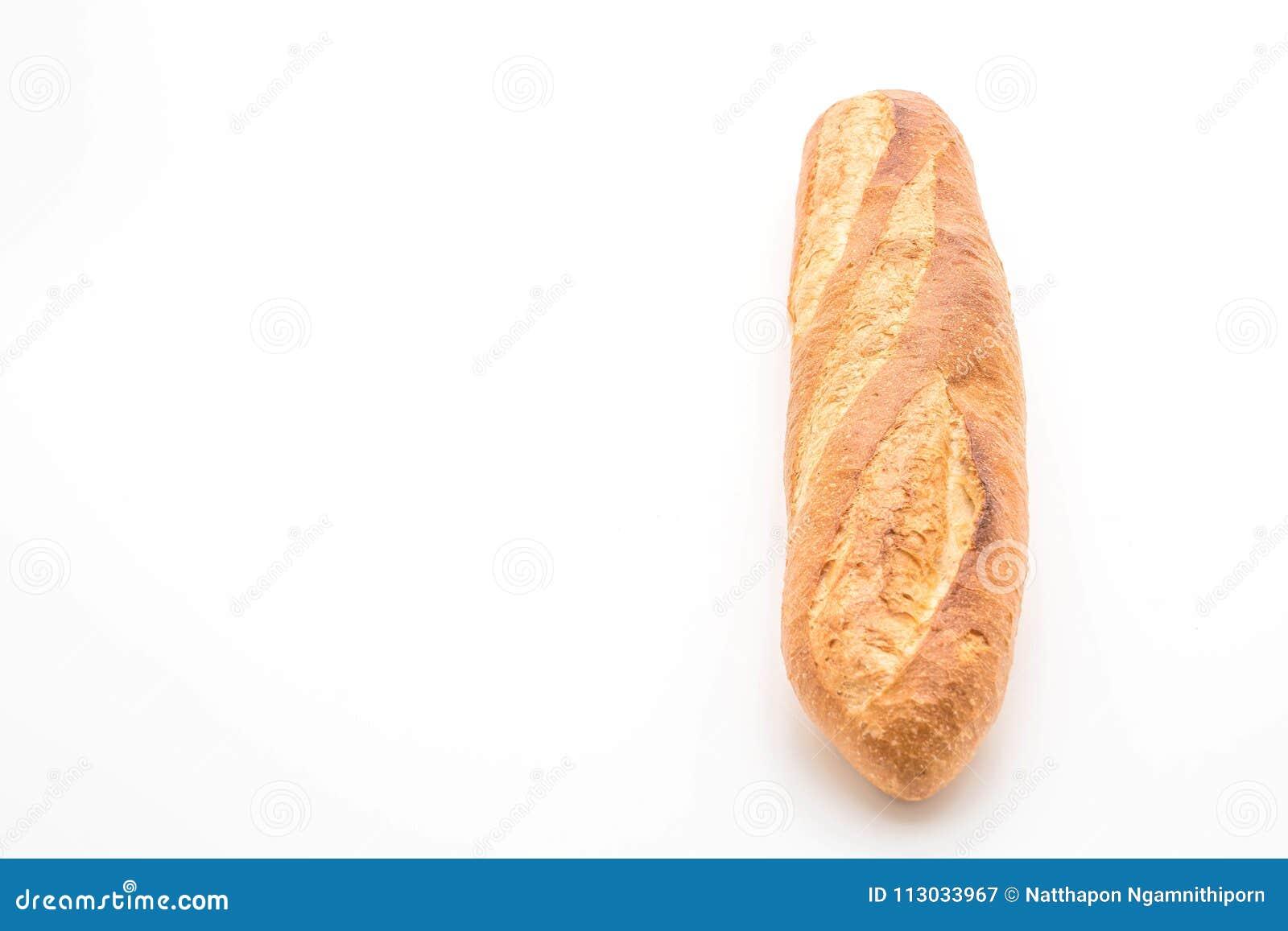 Pan del Baguette en el fondo blanco
