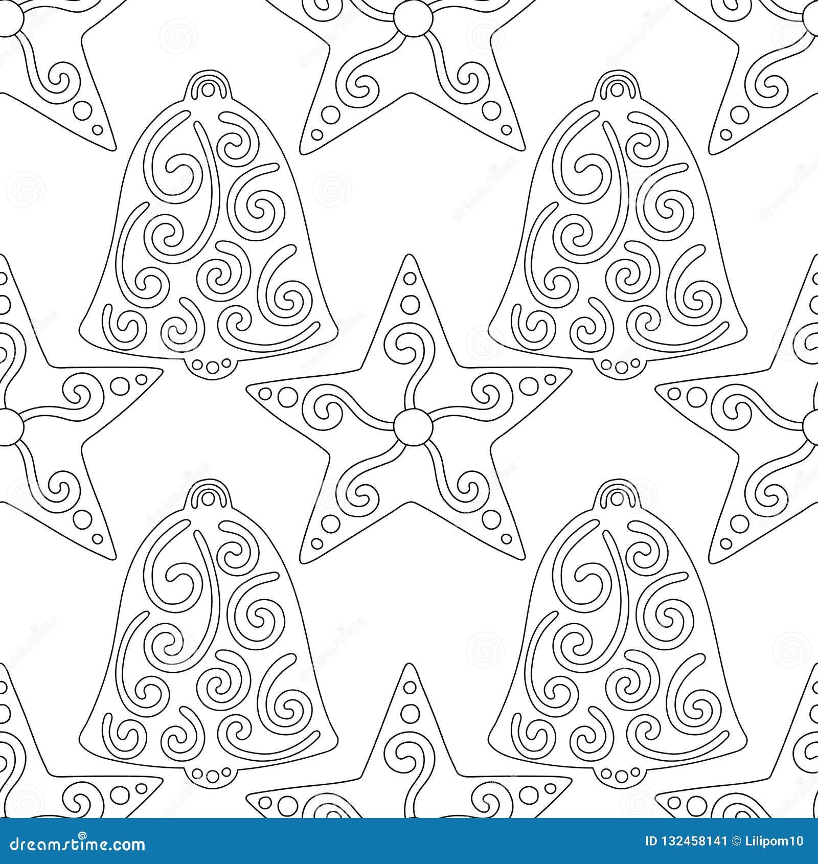 Dolci Di Natale Da Colorare.Pan Di Zenzero Campane Illustrazione In Bianco E Nero Per