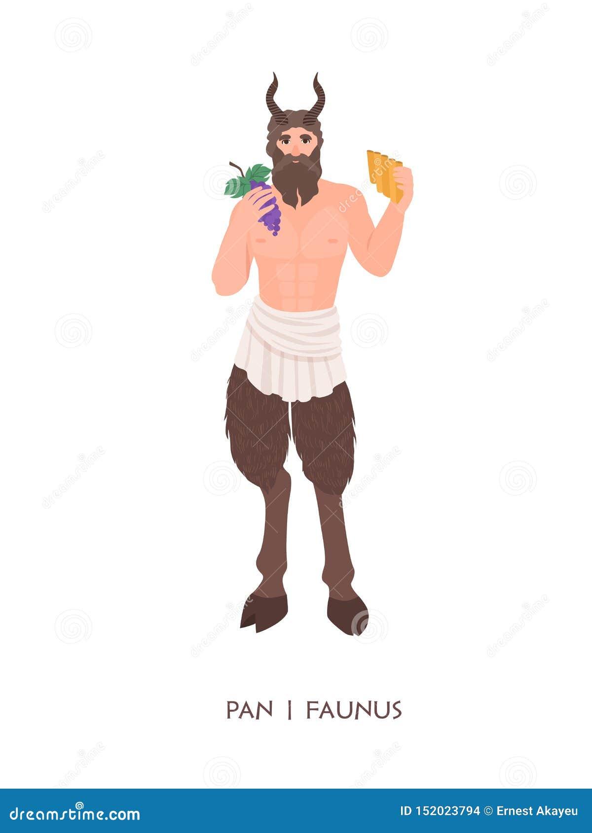 Pan of Faunus - god of deity van herders en vruchtbaarheid van oude Griekse en Roman godsdienst Mythologisch mannetje