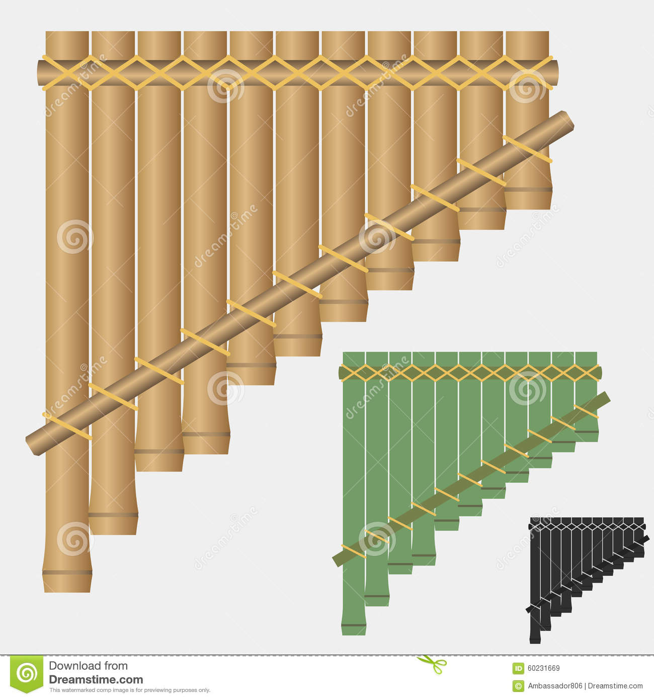 Pan flute, bamboo flute, pan pipes, wind musical instrument - vectors.