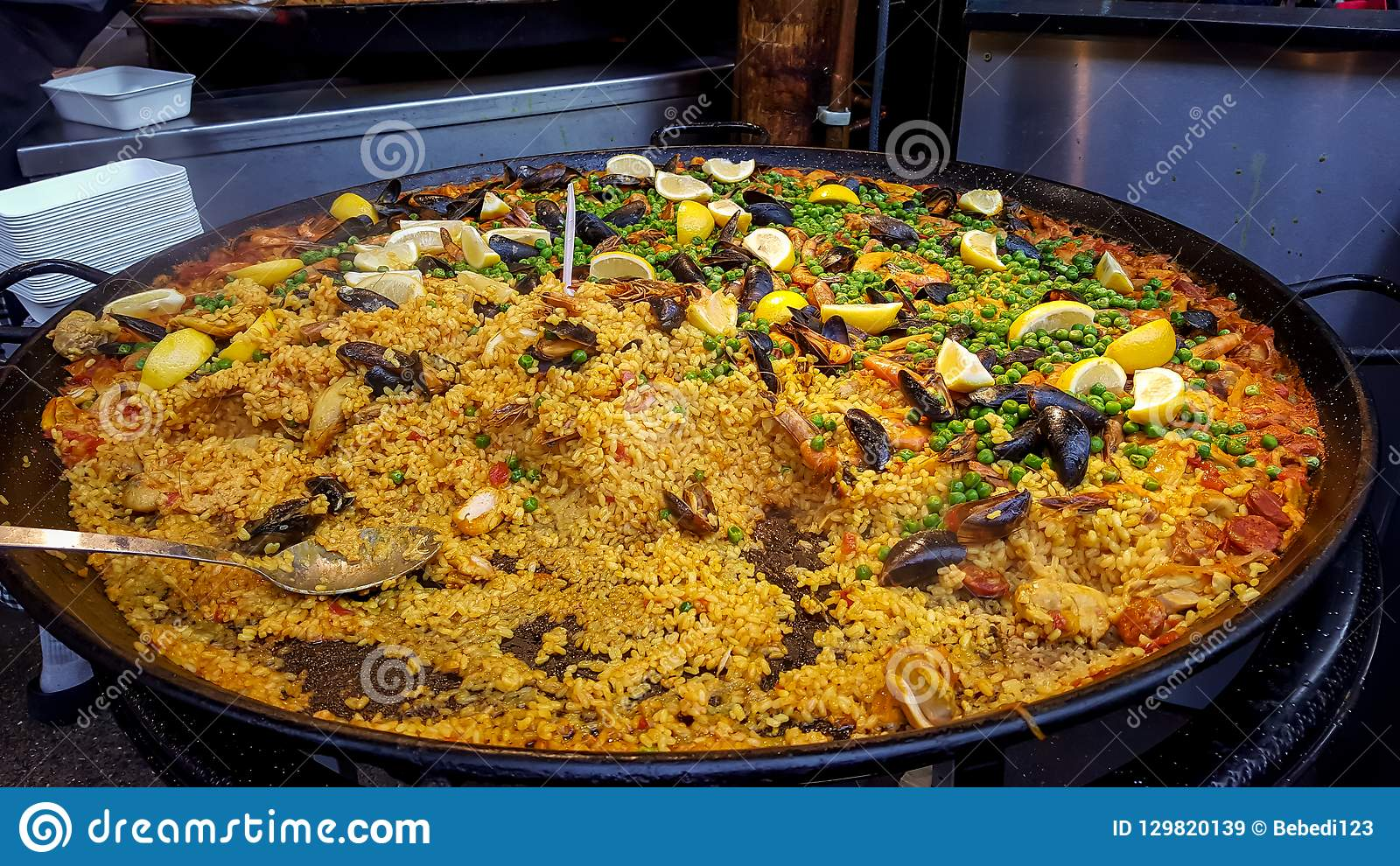 Fresh traditional paella ready in a marketplace