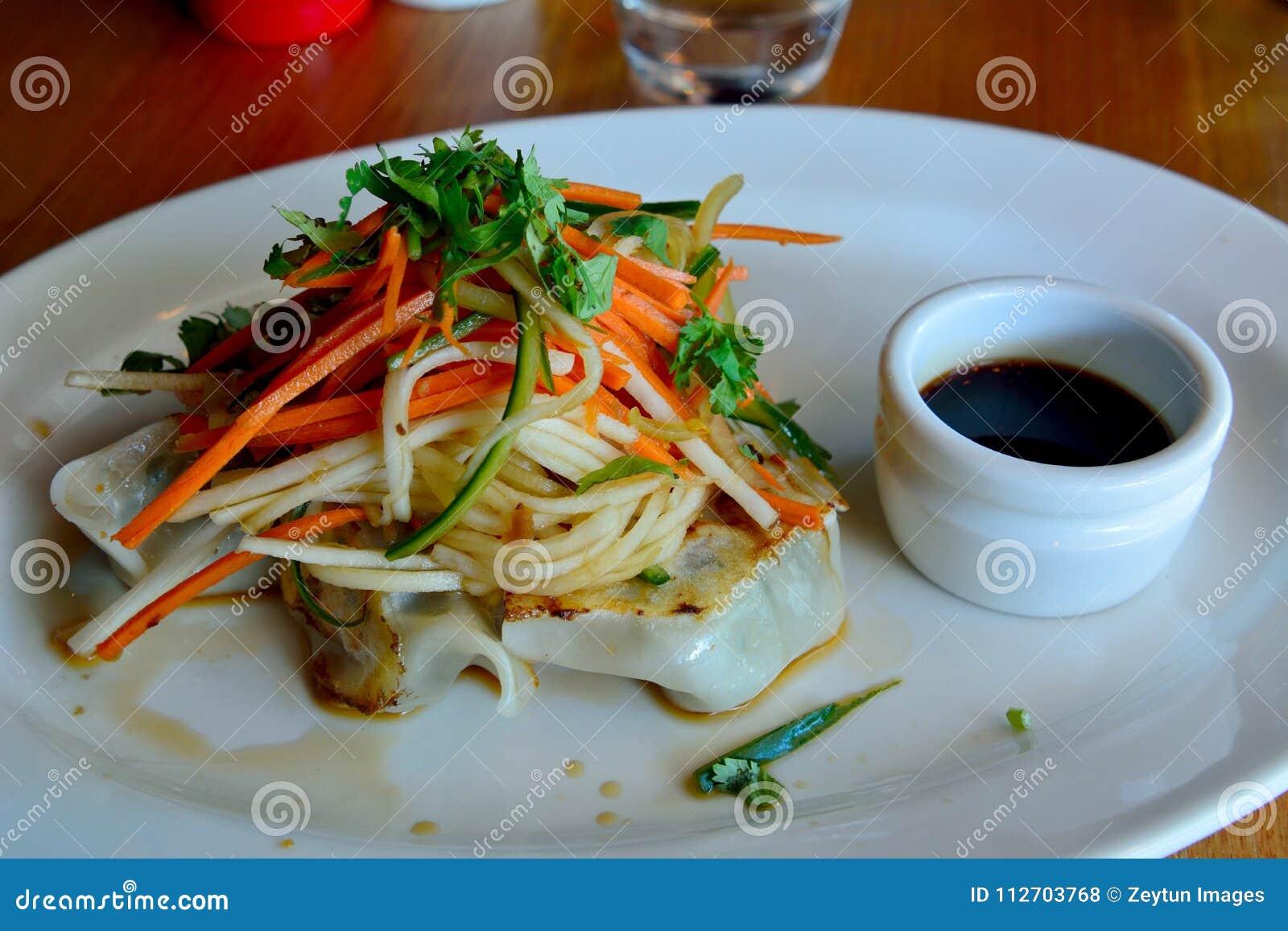 Pan Fried Dumpling With Salad Stock Photo - Image of ...