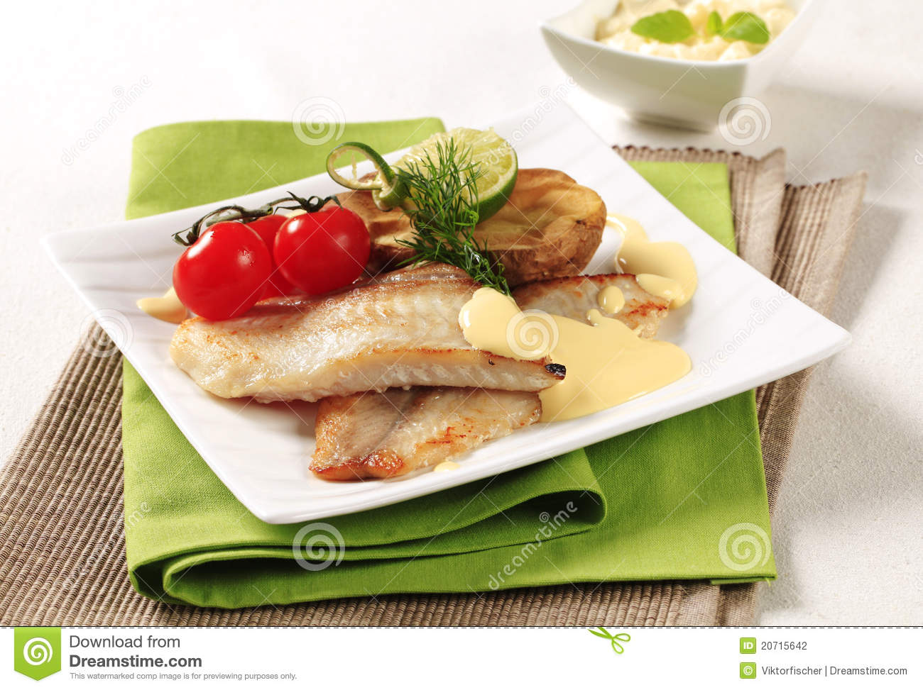 Pan fried fish fillets stock photo for Pan fried fish recipe