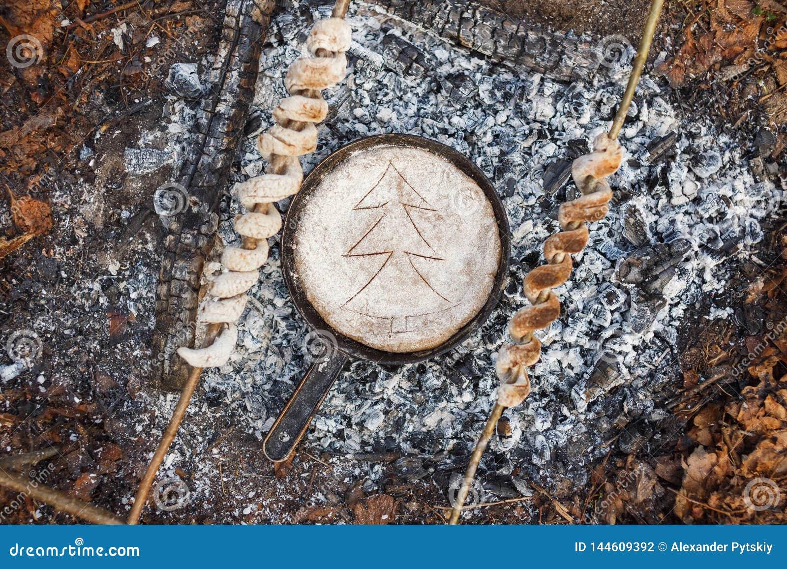Pan met brood op de steenkolen van de brand in het de lentebos