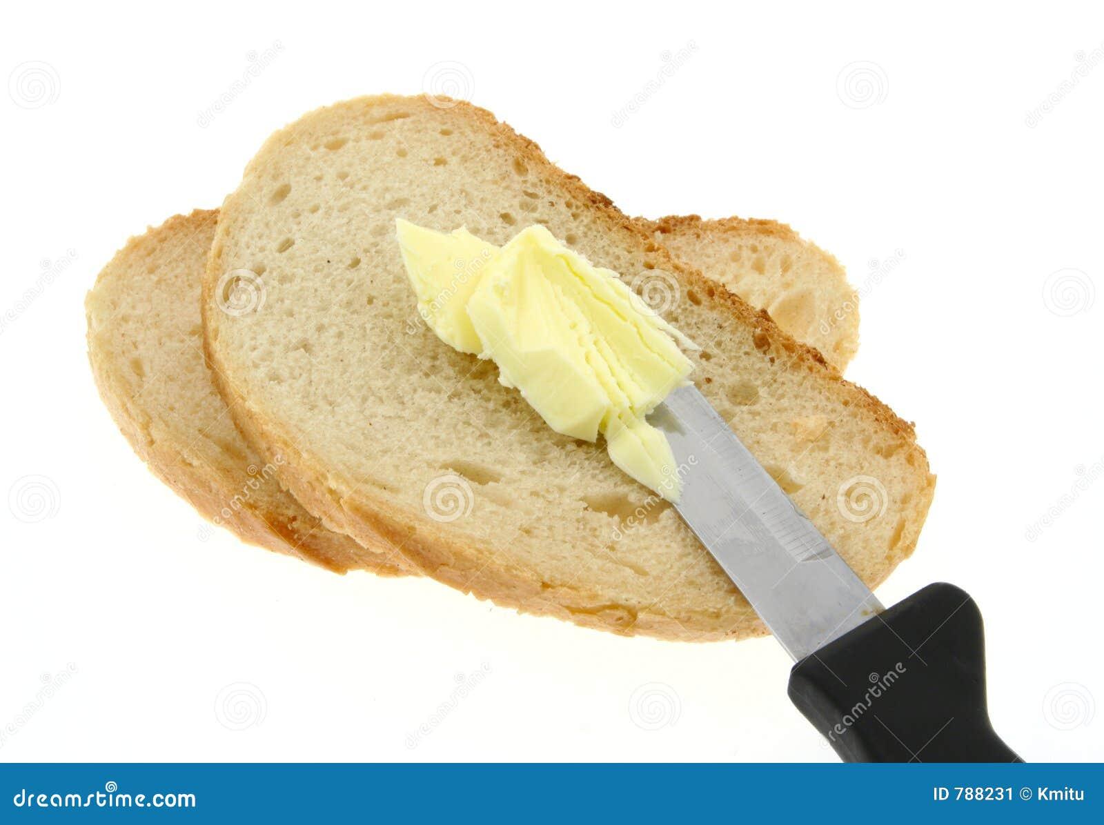 Pan que unta con mantequilla imagen de archivo imagen de for Cuchillo para untar mantequilla