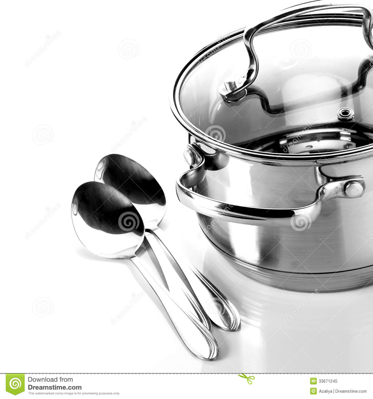 Dream Kitchen Utensils: Pan And Spoons Royalty Free Stock Photo