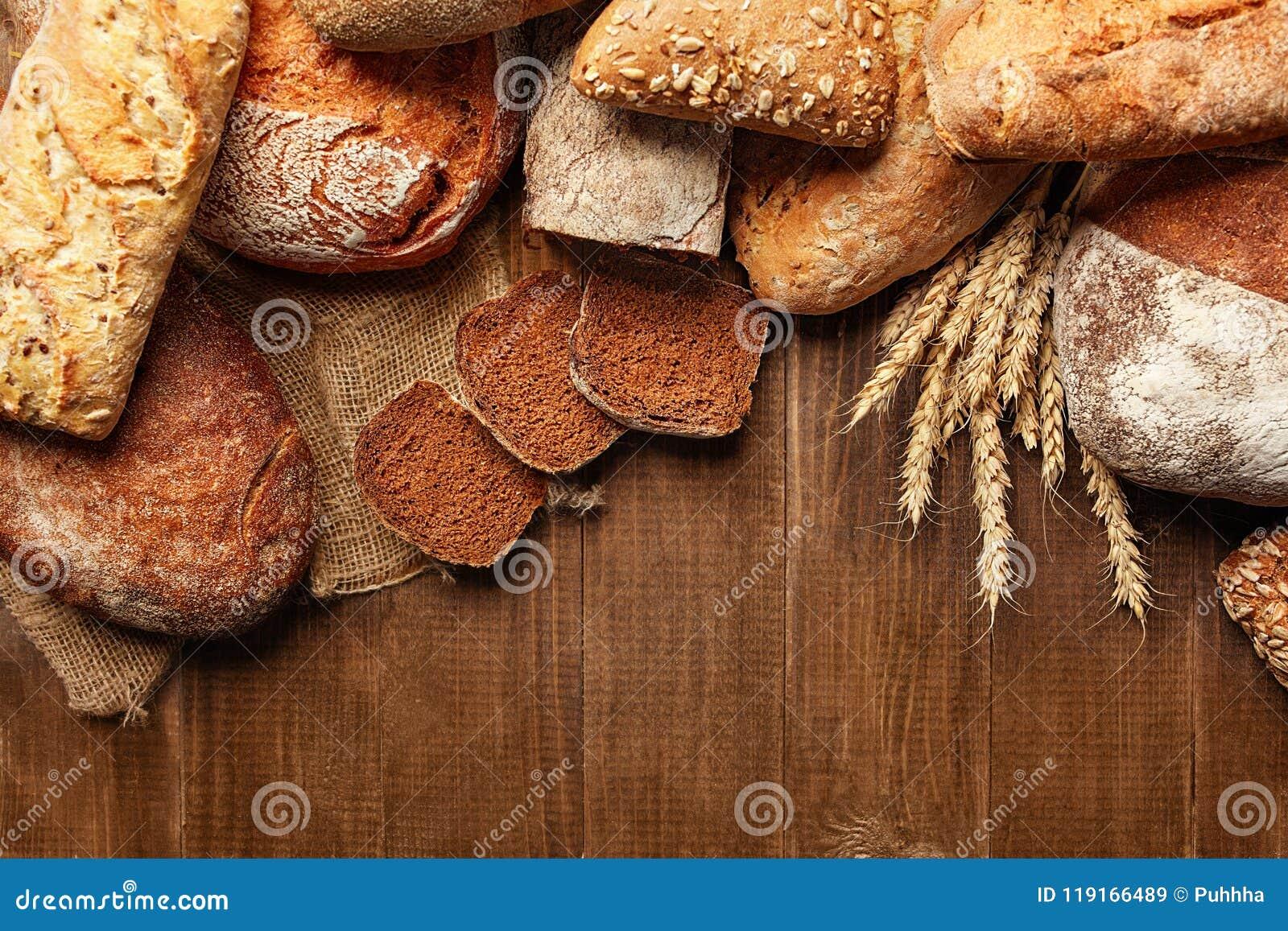 Panadería Pan en el fondo de madera