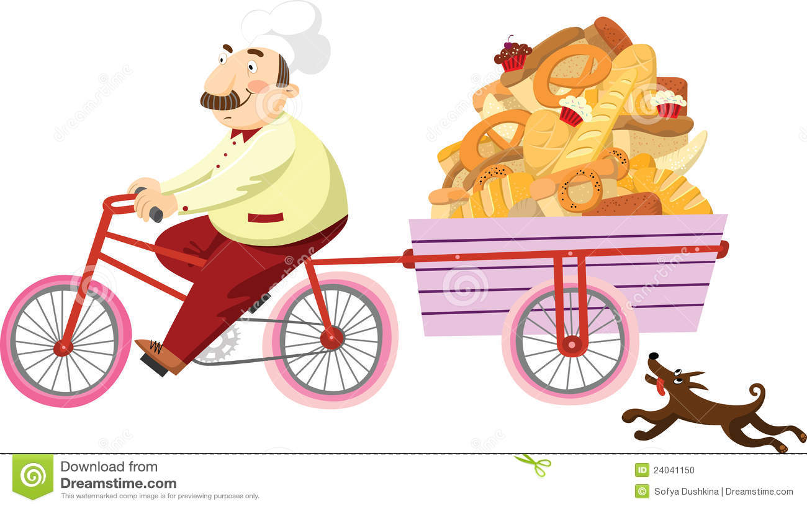 Panadero en una bicicleta